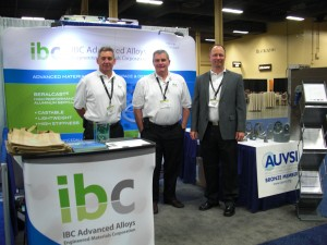 From left to right; Ray White, David Hinds, and Chris Huskamp in the IBC Advanced Alloys - Engineered Materials Booth at AUVSI 2012 in Las Vegas.